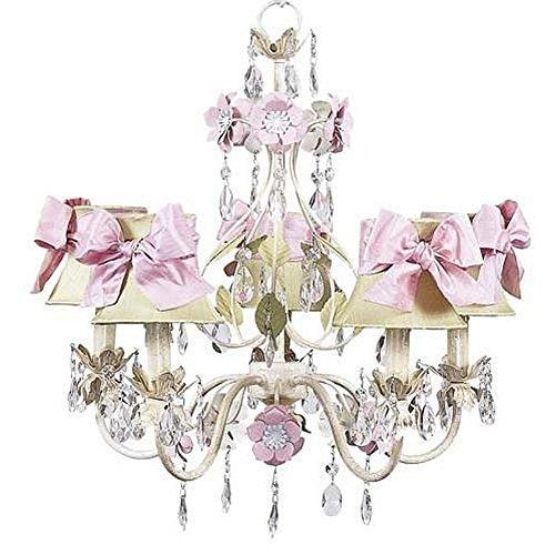 Jubilee Collection Arm Flower Garden Chandelier with Plain Ivory Shade, Ivory/Sage/Pink