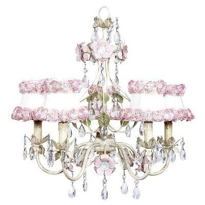 Chand - 5-Arm - Flower Garden - Ivory, Sage & Pink w/ Ch Shade - Ring of Roses on  white