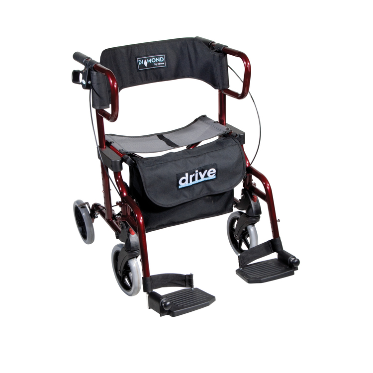 Diamond Deluxe Aluminum Transport Wheelchair / Rollator
