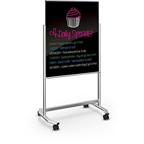 Visionary Move Mobile Black Magnetic Glassboard - 3x4