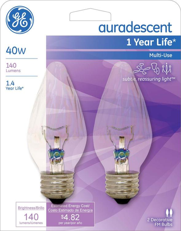 GE Lighting 75343 40 Watt Auradescent Flame Bulb 2 Count
