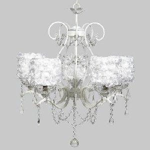 White 5 Light Grace Chandelier with White Rose Garden Drum Shades