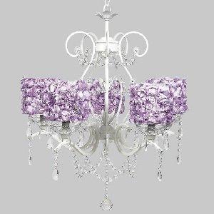 White 5 Light Grace Chandelier with Lavender Rose Garden Drum Shades