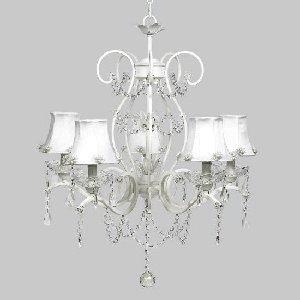 White 5 Light Grace Chandelier with White Pearl Burst Shades