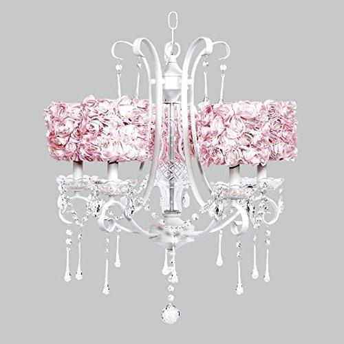 5 Light White Colleen Chandelier with Pink Rose Garden Drum Shades