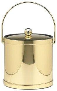 Mylar Polished Brass 3 Qt. Ice Bucket W/  Bale Handle,  Bands & Metal Cover