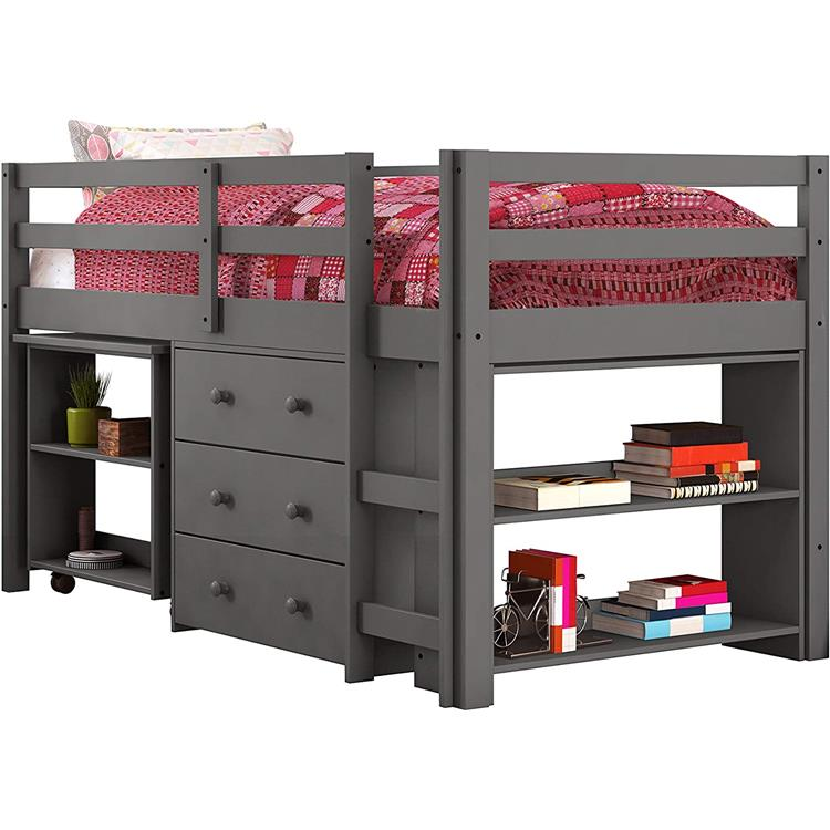 Donco Kids Twin Low Loft Bed with Desk, Chest and Bookcase [Item # 760-TDGA]