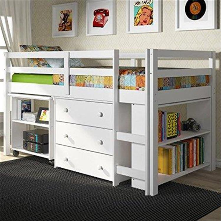 Donco Kids Twin Low Loft Bed with Desk, Chest and Bookcase