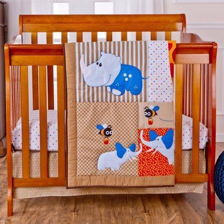 Dream On Me Jungle Babies Reversible 3 Piece Portable Crib Set
