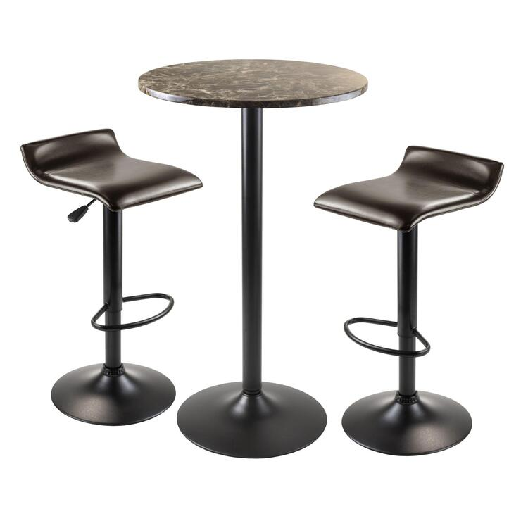 Winsome Wood Cora 3pc Table with 2 Swivel Stools