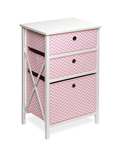 September 3 Basket Wood Frame Storage - White/Pink Chevron