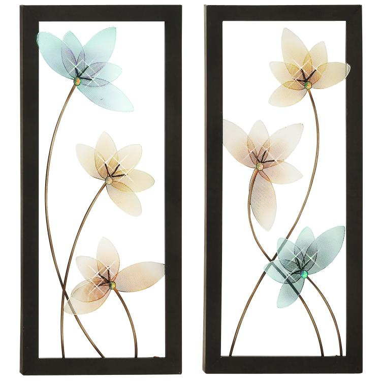 Spring Jewel Hand-crafted LED Lighted Metal Wall Art - Set of 2