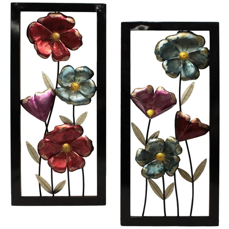 Garden Flowers Hand Crafted Metal Wall Art - Set of 2