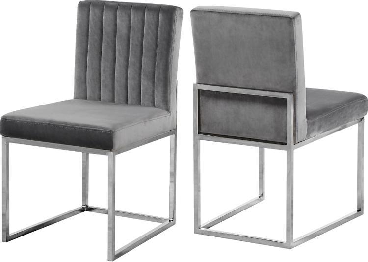 Giselle Grey Velvet Dining Chair, Set of 2