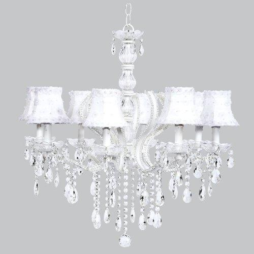 8 Light Pageant Chandelier with White Petal Flower Shades