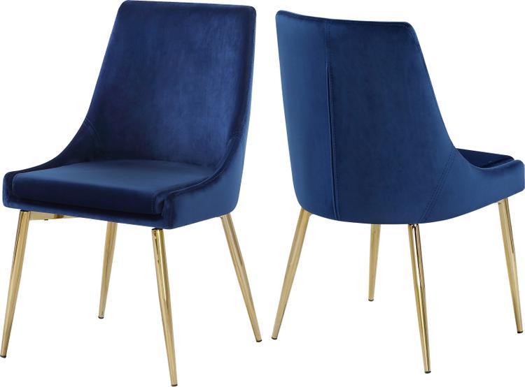 Karina Navy Velvet Dining Chair, Set of 2