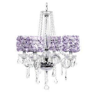 4 Light Middleton Chandelier with Lavender Rose Garden Drum Shades