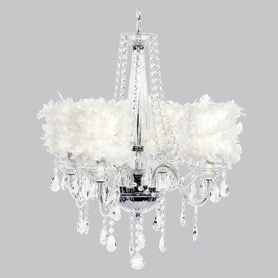 4 Light Middleton Chandelier with White Feather Drum Shades
