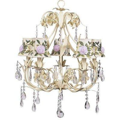 Chand - 5-Arm - Ballroom ? Ivory w/ Ch Shade - Rose Net Flower - Ivory