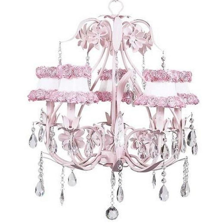 Chand - 5-Arm - Ballroom ? Pink w/ Ch Shade - Ring of Roses on  white