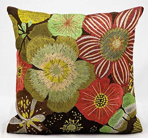 Kathy Ireland Pillow Multicolor Rust Flowers Pillow