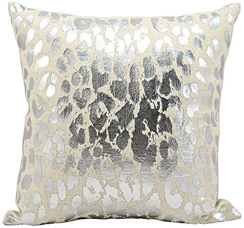 Kathy Ireland Pillow Silver Metallic Leopard Pillow