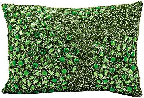 Luminescence Apple Green Fully Beaded Pillow
