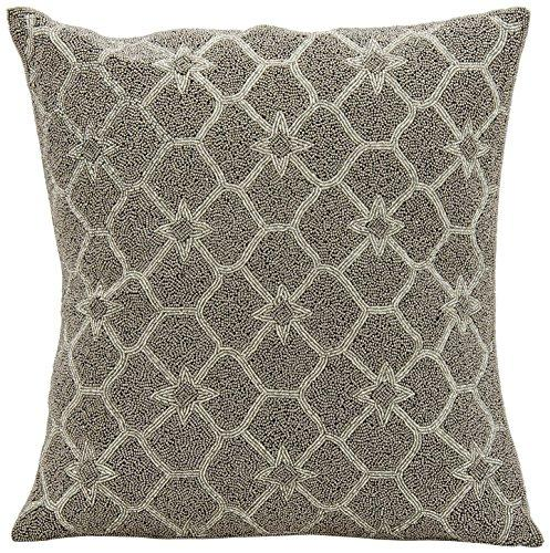 Mina Victory Luminecence Beaded Stars Silver Grey Pillow by Nourison