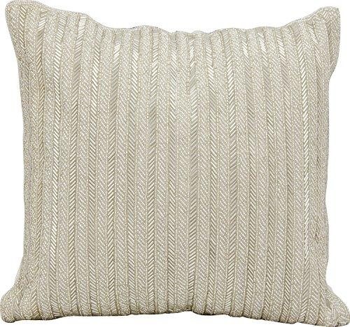 Michael Amini Pillow Silver Beaded Stripes Pillow