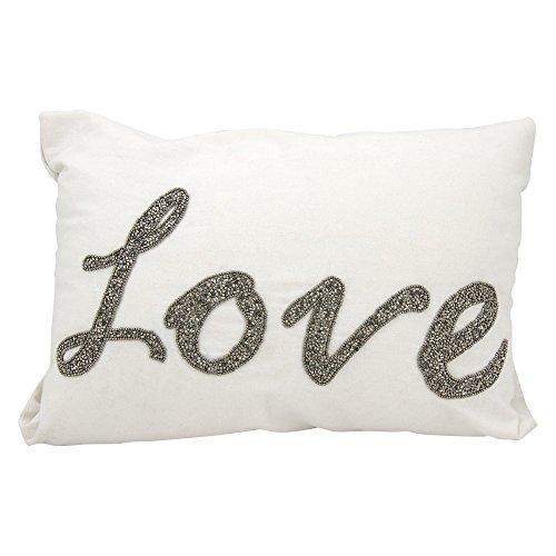Luminescence White Beaded Love Pillow