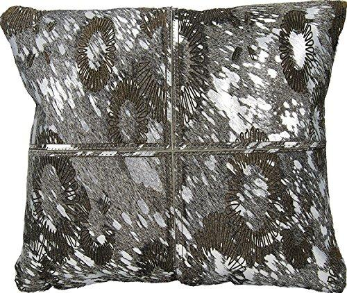 Couture Hide Silver Grey Floral Laser Cut Pillow