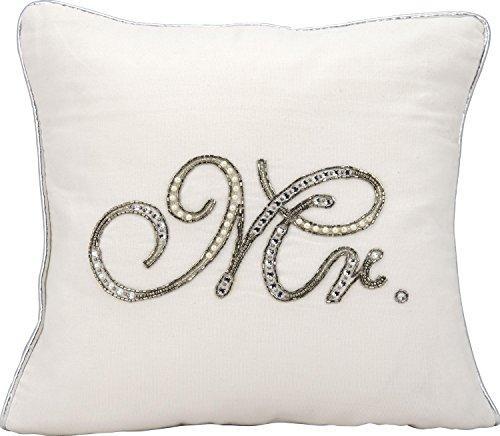 Kathy Ireland Pillow White Beaded Mr. Pillow