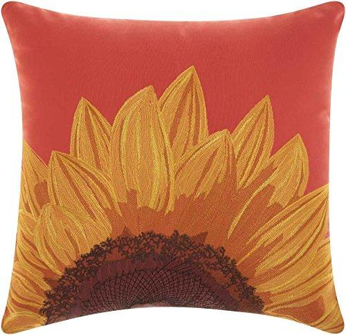 Outdoor Coral Embroidered Sunflower Pillow