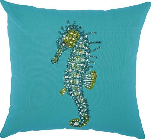 Outdoor Turquoise Beaded Seahorse Pillow