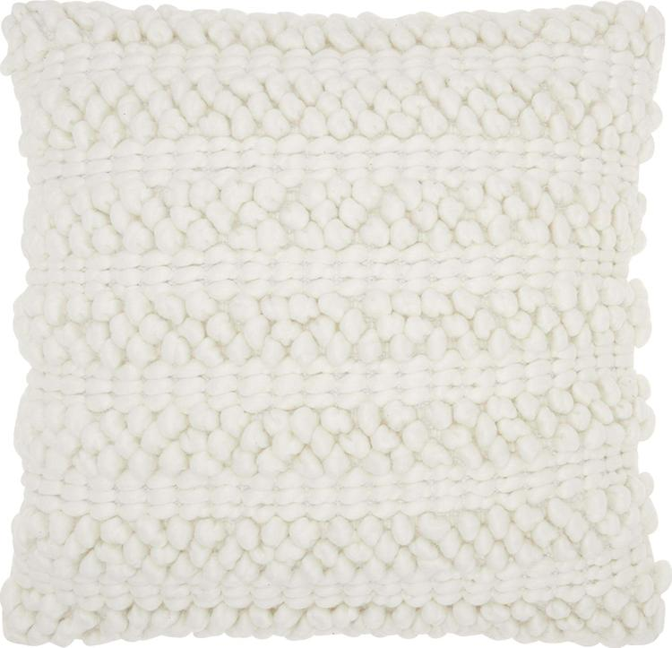 Lifestyle White Woven Stripes Pillow