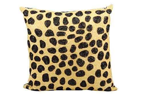 Mina Victory Luminecence Beaded Leopard Beige Black Pillow by Nourison