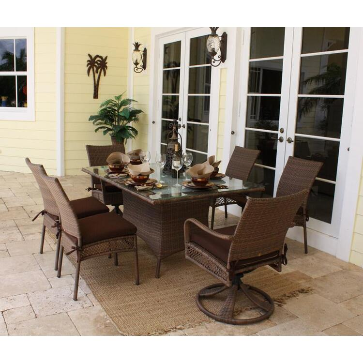 Grenada 7 Piece Rectangular Table and Chair Dining Set, Finish Antique Brown
