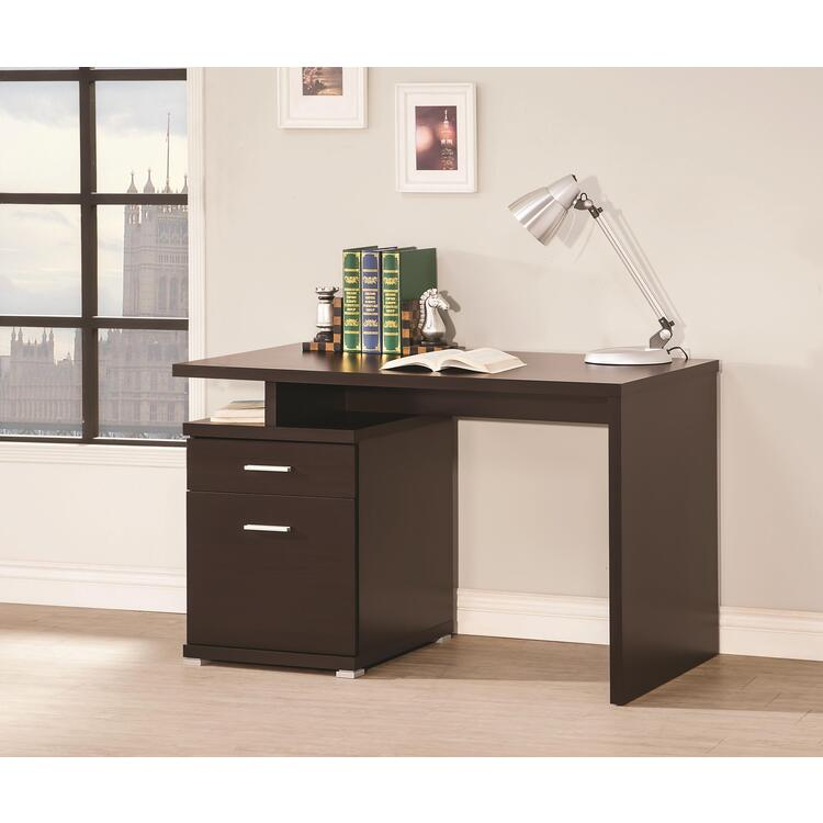 Coaster Office Desk with Drawer in Cappuccino