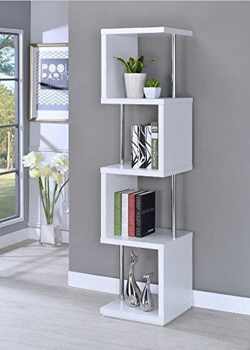 Coaster Home Modern White 4-Tier Bookcase