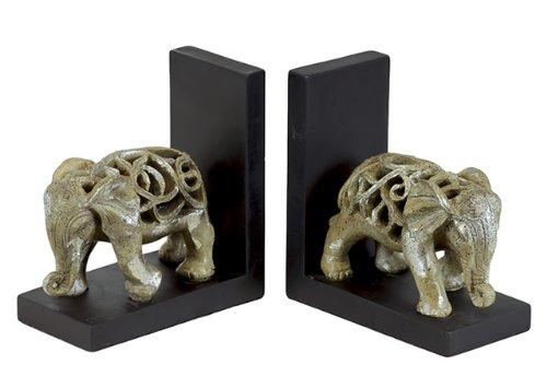 UTC80145-AST Resin Elephant Figurine with Cutout Design Bookend Assortment of Two Glaze Finish Champagne