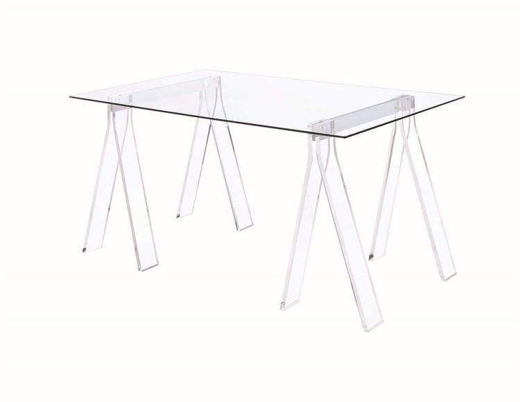 Coaster Amaturo Clear Acrylic Sawhorse Writing Desk