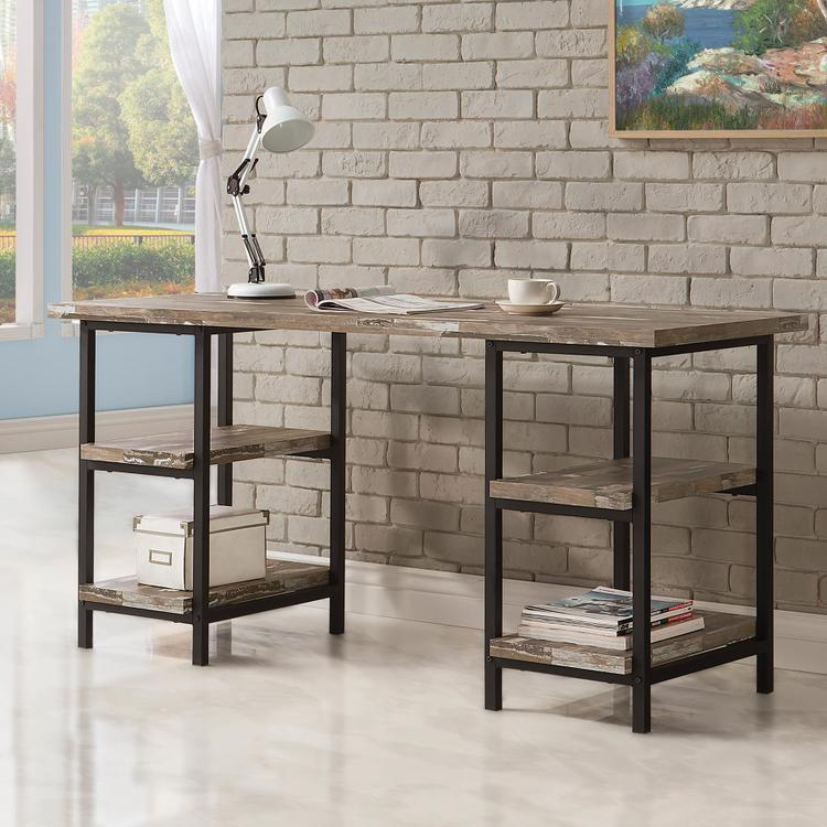 Skelton Modern Rustic Writing Desk with Metal Frame and Distressed Finish Top & Shelves