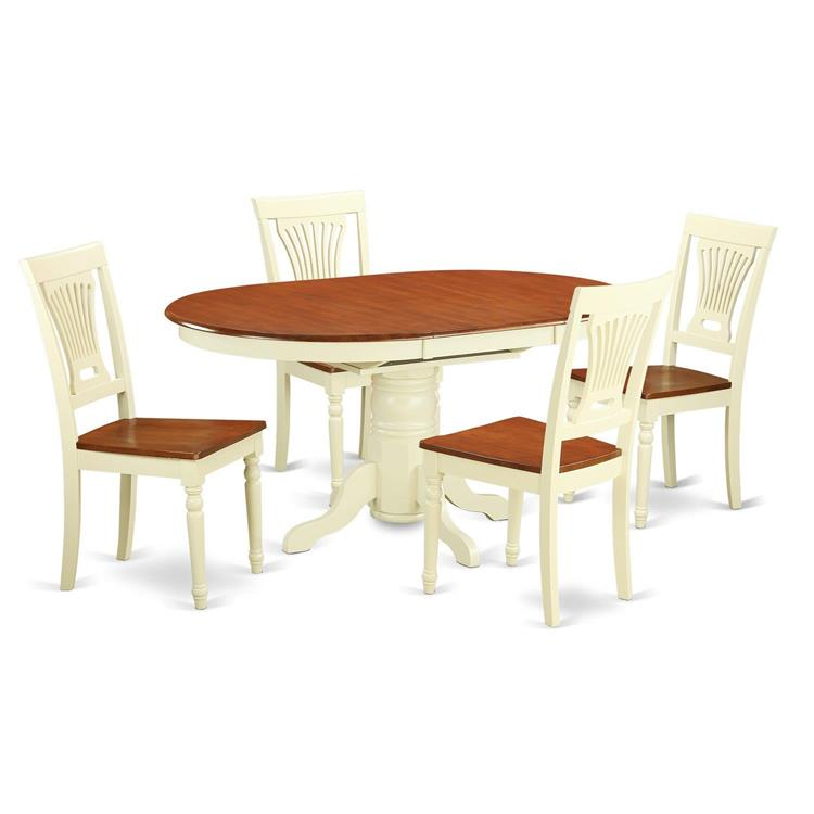 East West Furniture 5-Piece Dining Table Set [Item # KEPL5-WHI-W]