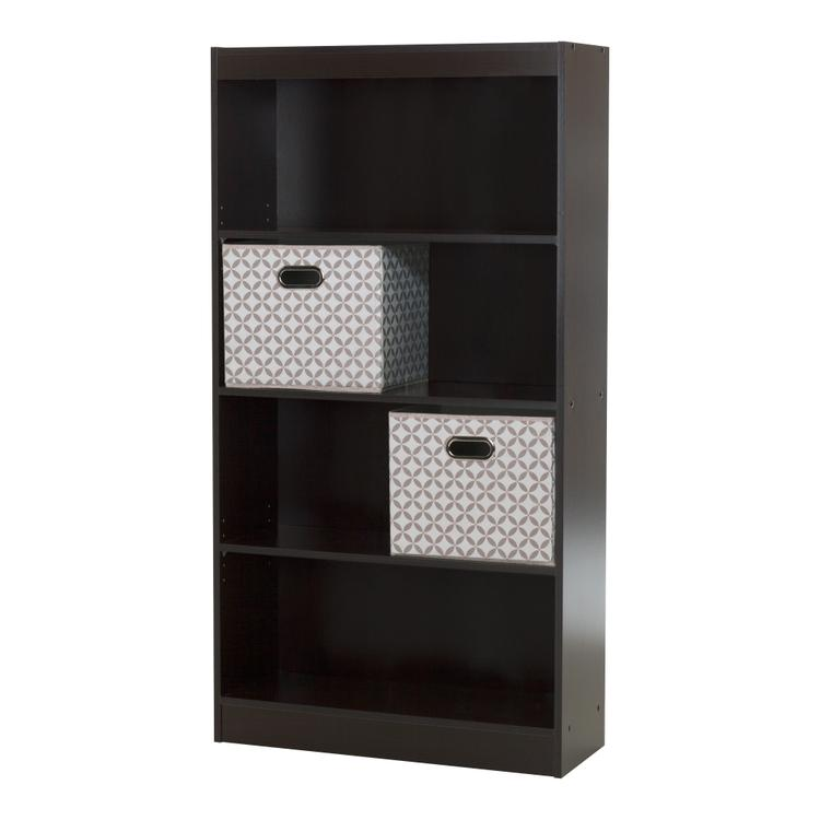 South Shore Axess 4-Shelf Bookcase With 2 Fabric Storage Baskets