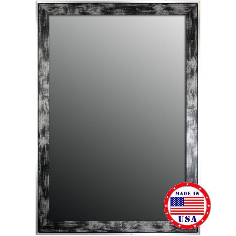 Scratched Wash & Silver Trim Framed Wall Mirror
