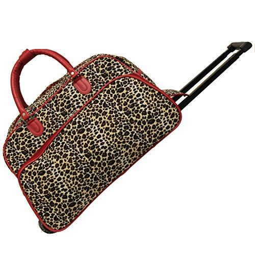 World Traveler 21-Inch Carry-On Rolling Duffel Bag - Red Trim Leopard
