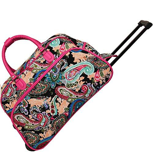 World Traveler 21-Inch Carry-On Rolling Duffel Bag - Pink Trim Multi Paisley
