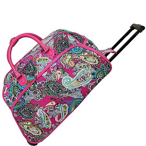 World Traveler 21-Inch Carry-On Rolling Duffel Bag - Pink Multi Paisley
