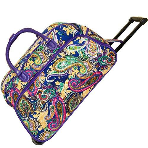 World Traveler 21-Inch Carry-On Rolling Duffel Bag - Blue Multi Paisley
