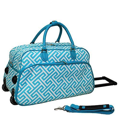 World Traveler 21-Inch Carry-On Rolling Duffel Bag - Light Blue White Greek Key